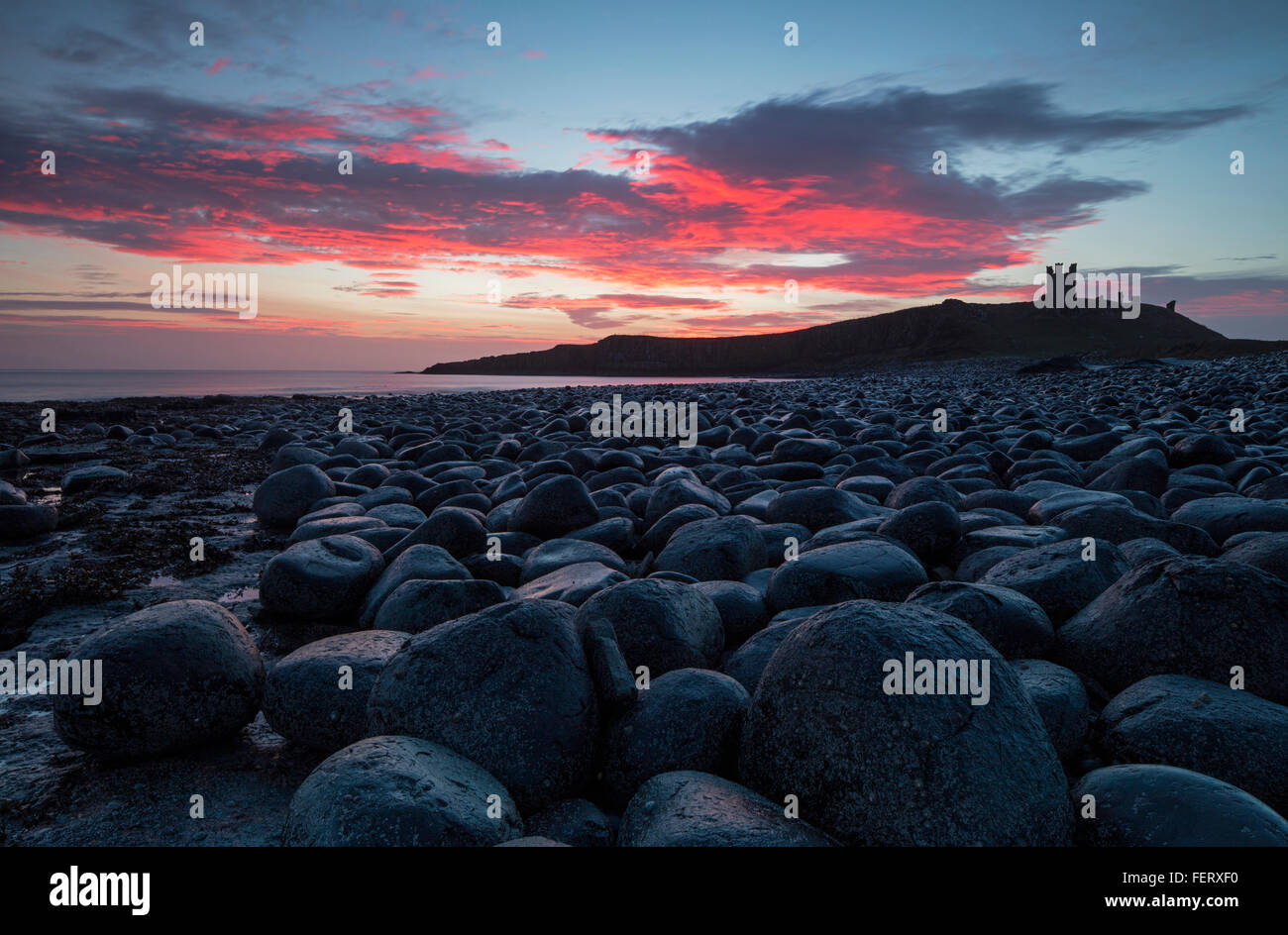 A view at dawn of Dunstanburgh Castle taken from the Whin Sill rocks to the North - Stock Image