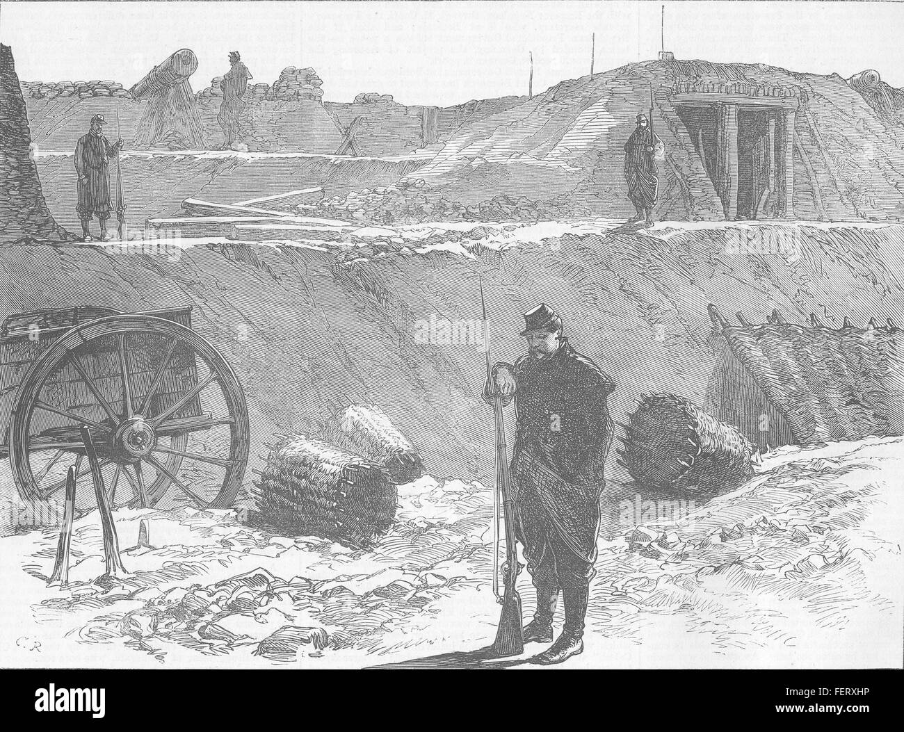 FRANCE Bastion occupied by Garde Sedentaire, Paris 1871. Illustrated London News - Stock Image