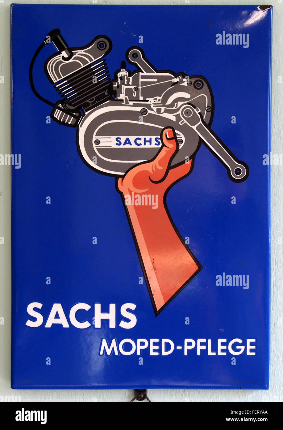 Sachs Moped-Pflege, Emaille werbung - Stock Image