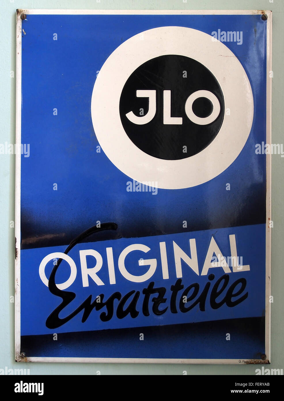 JLO Ersatzteile, Emaille werbung - Stock Image