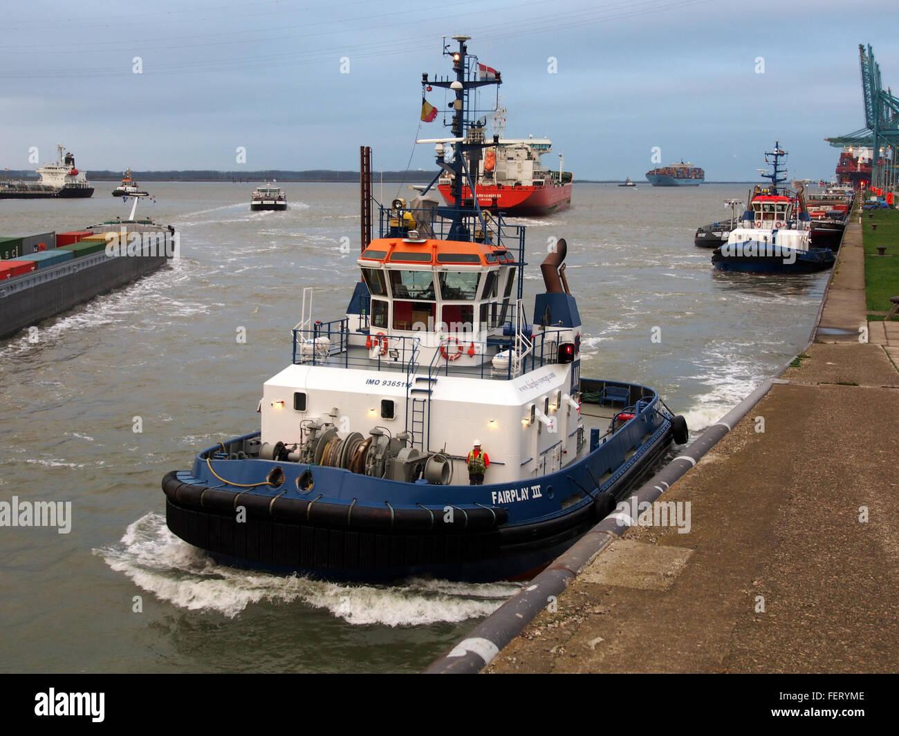 Fairplay (ship, 2007), IMO 9365116, Port of Antwerp - Stock Image