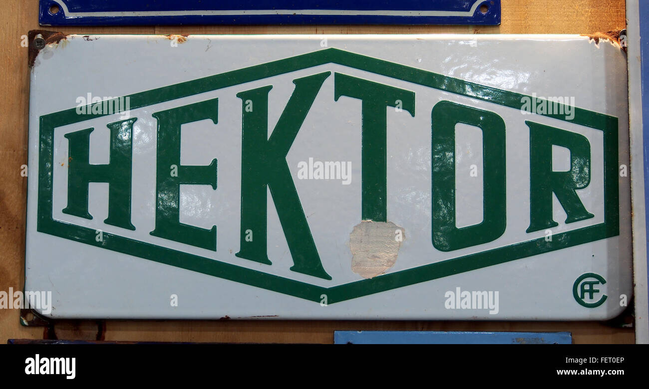 Hektor, emaille reklame bord - Stock Image