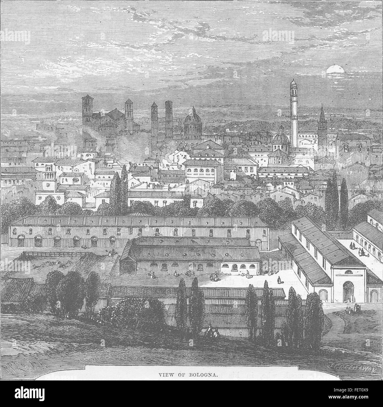 ITALY View of Bologna c1877. History of Protestantism, JA Wylie, published by Cassell & Co - Stock Image