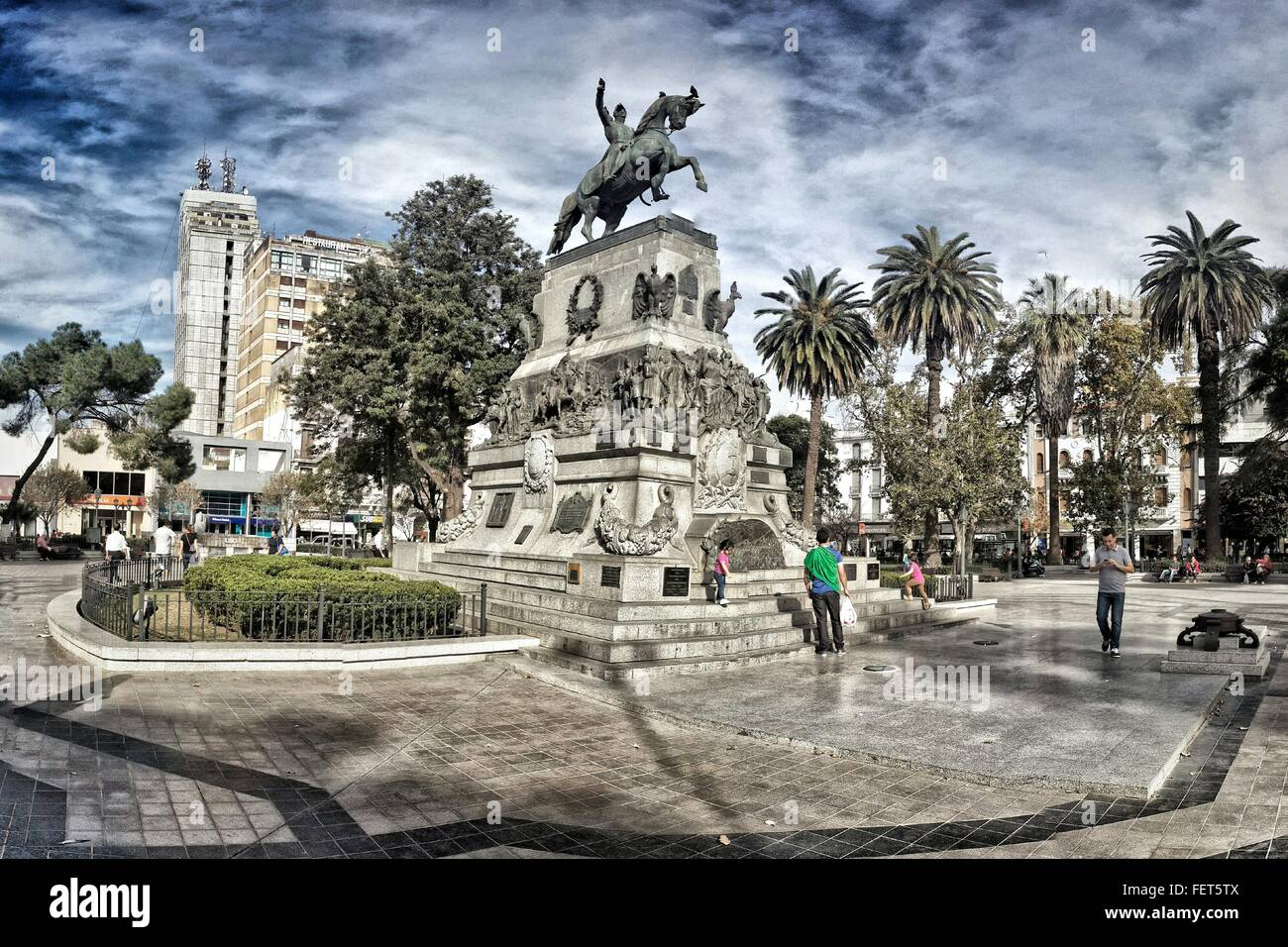People At Statue Of General Jose De San Martin - Stock Image