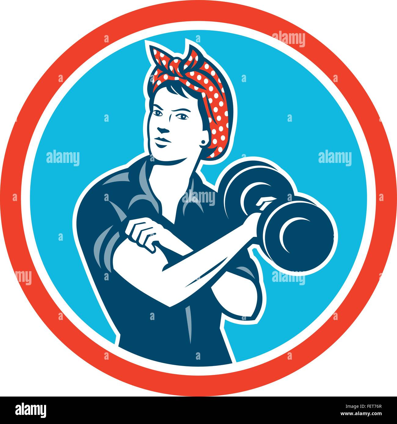 Illustration of a vintage female wearing polka dot headband working-out flexing muscle lifting dumbbell facing front - Stock Vector