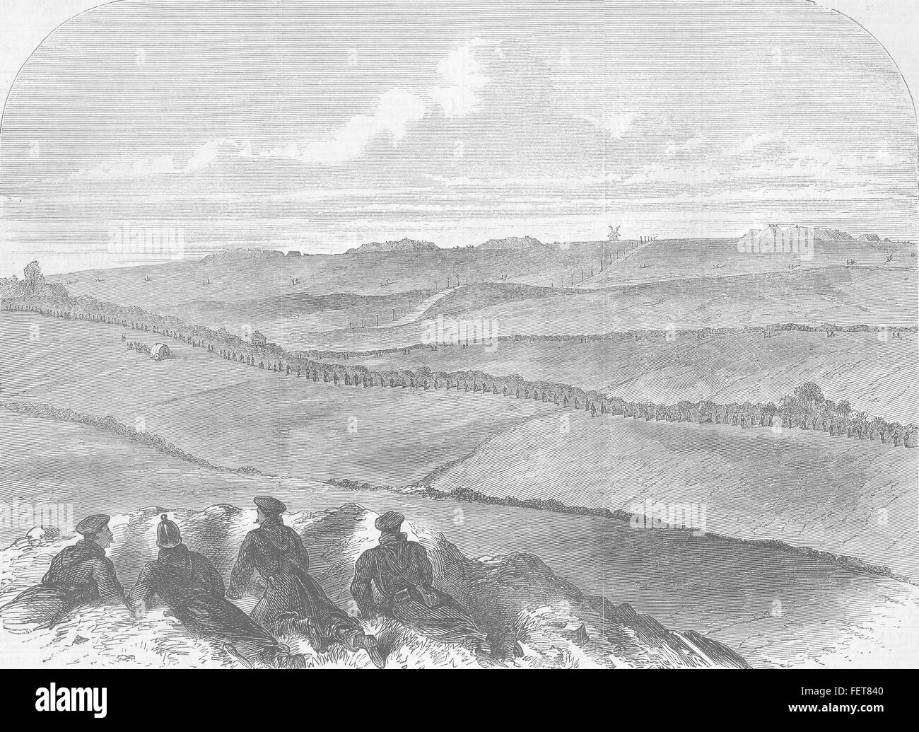 DENMARK Schleswig Forts at Dybbøl, Sentries 1864. Illustrated London News - Stock Image