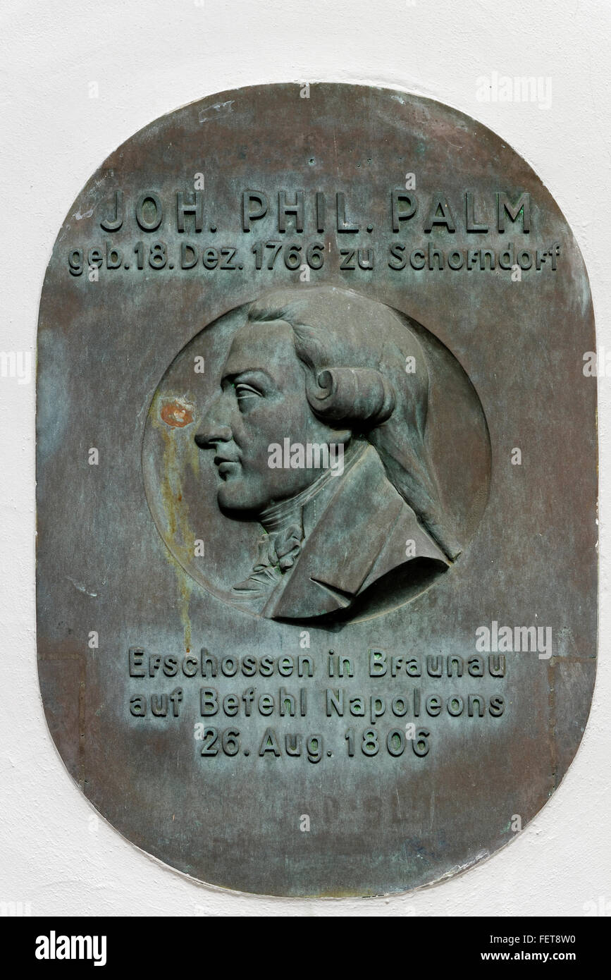 Commemorative plaque to bookseller Johann Philipp Palm, born in Schorndorf in 1766, shot dead on orders of Napoleon - Stock Image