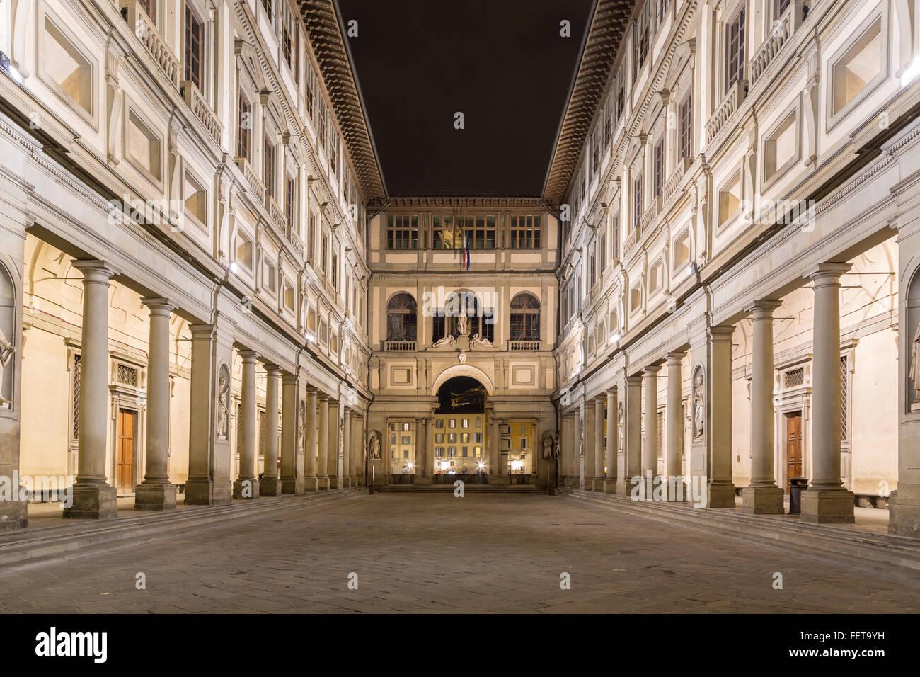 Uffizi Gallery, night, Florence, Tuscany, Italy - Stock Image