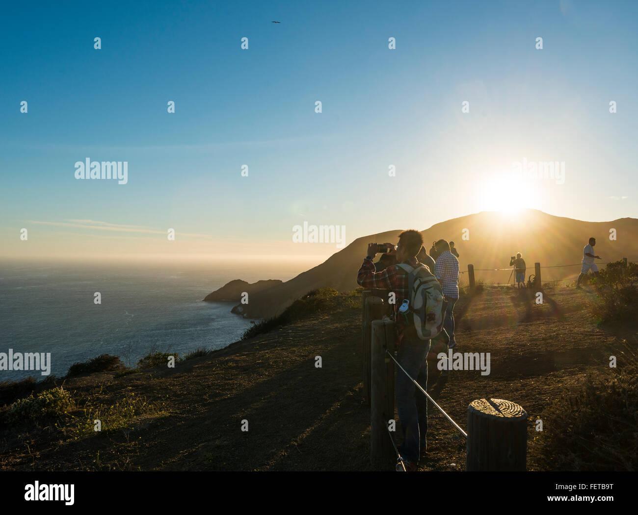 Tourists at a viewpoint, San Francisco, California, USA - Stock Image