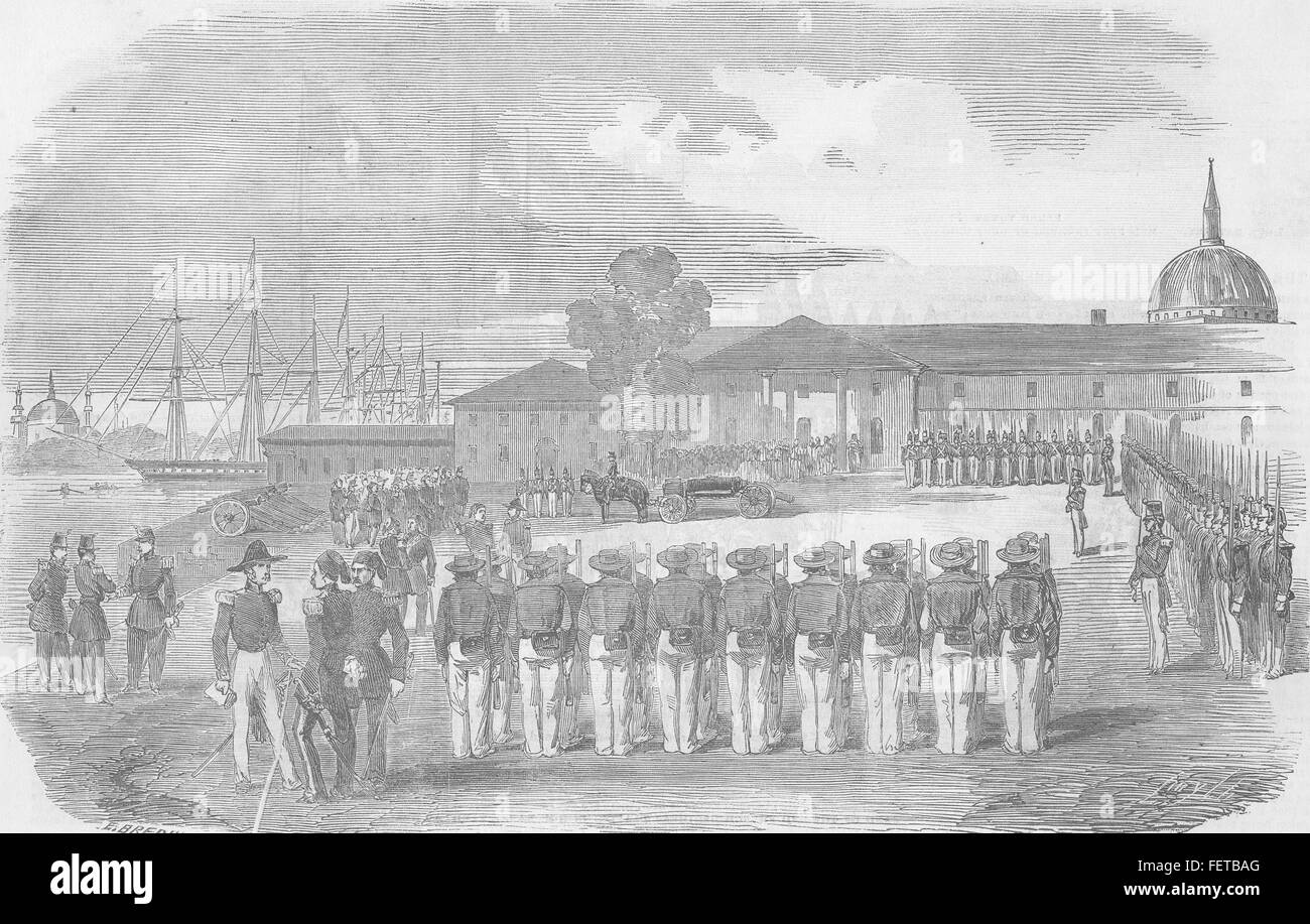 UK Honours paid to remains of Capt Hyde Parker 1854. Illustrated London News Stock Photo