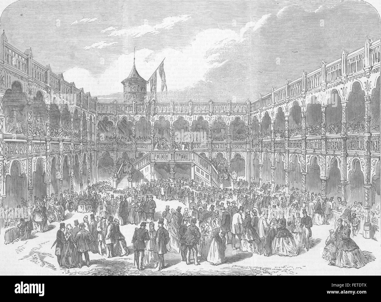 BELGIUM Temporary Restoration of the Old Bourse 1864. Illustrated London News - Stock Image