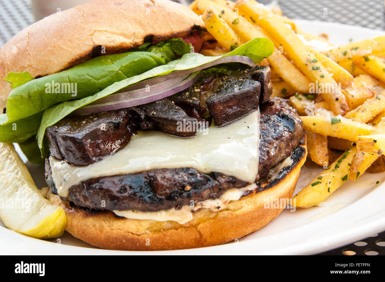 Truffle Pig burger with Foie Gras and truffle fries, Truffle Pig Restaurant, One Steamboat Place, Steamboat Springs, - Stock Image