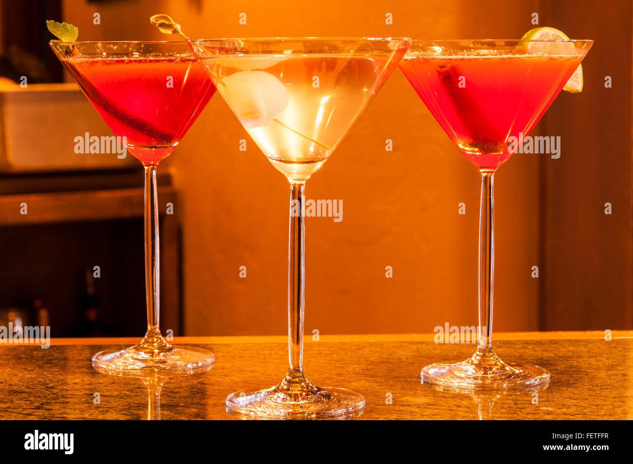 Cocktails, Game Creek Restaurant, Vail Resort, Vail, Colorado. - Stock Image