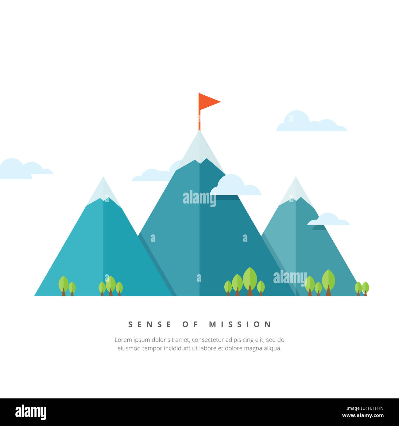 Vector illustration of mountains with flag pole. - Stock Image