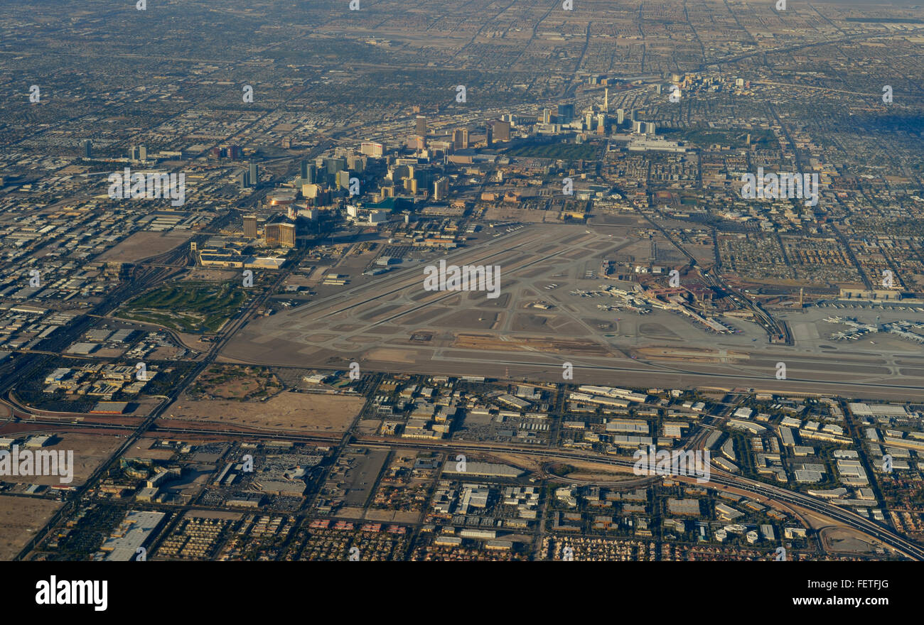 Las Vegas downtown, the famous Strip and the airport, Nevada NV (aerial) - Stock Image
