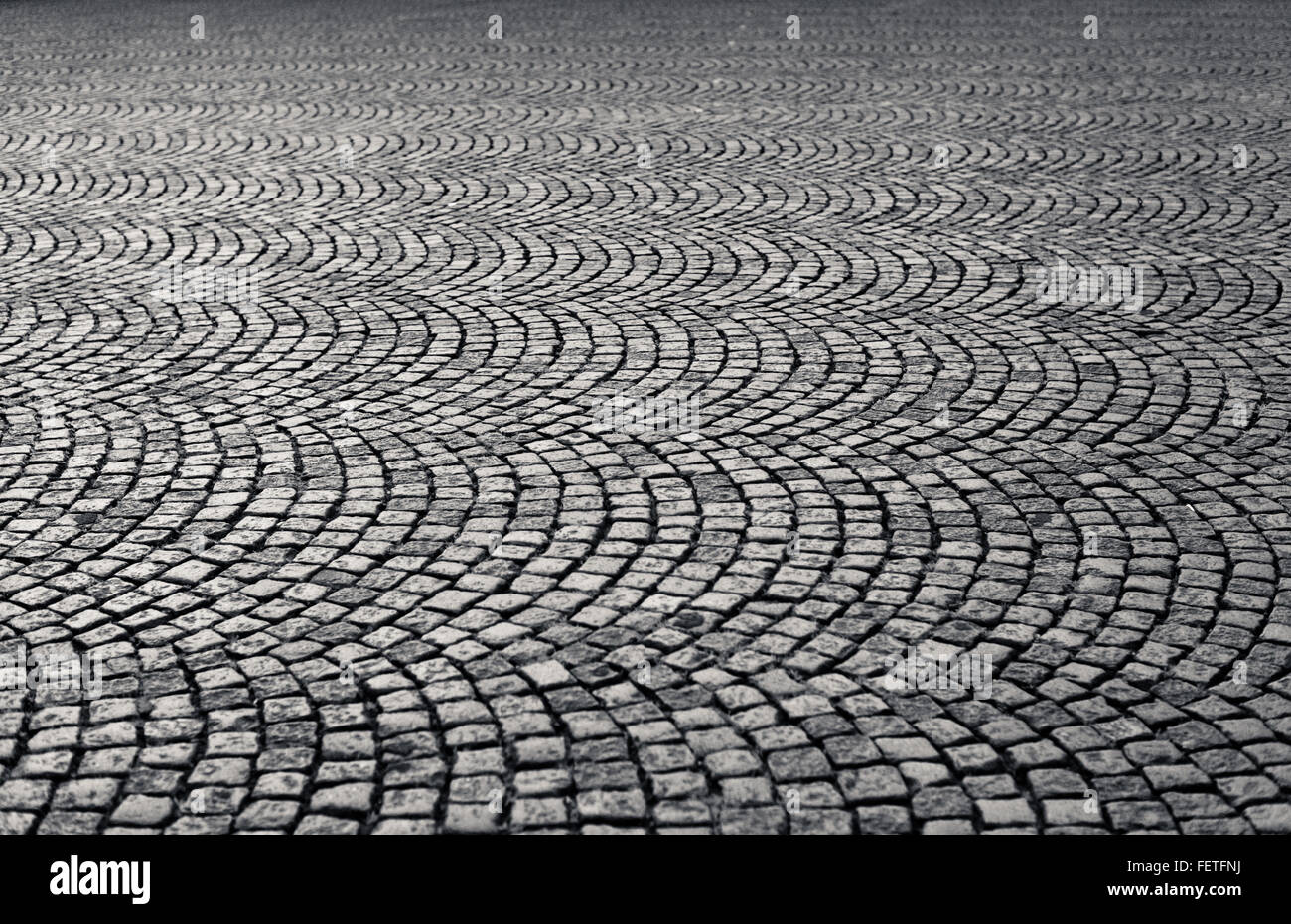 Close Up Of Cobblestone Square - Stock Image