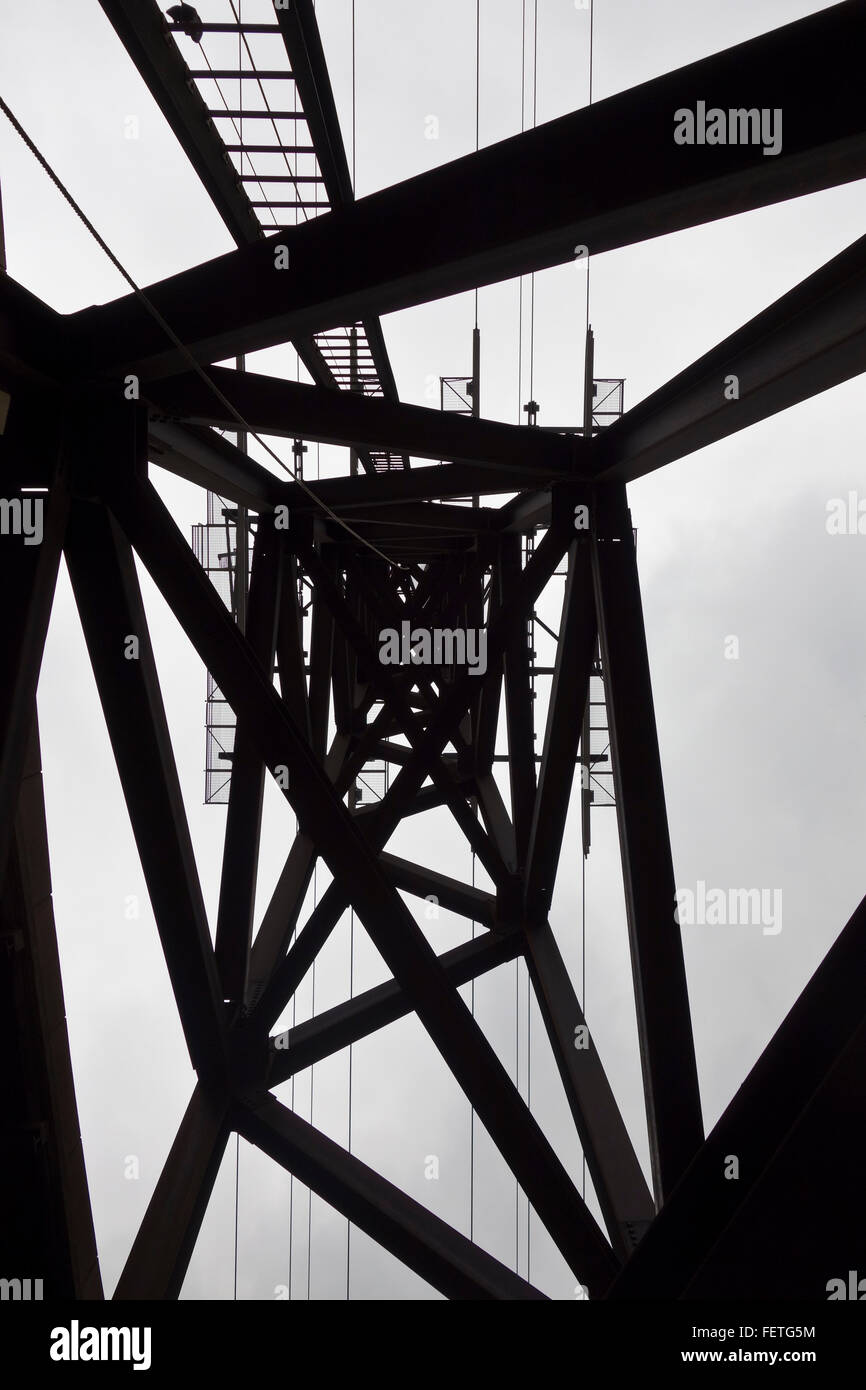 View Up Electricity Pylon - Stock Image