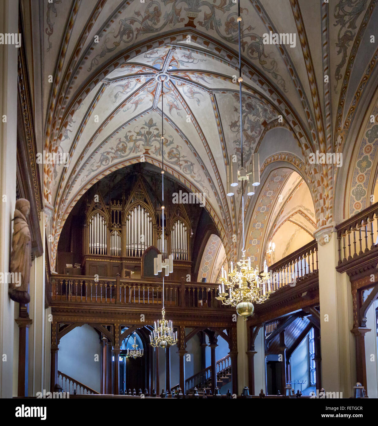 1893 pipe organ inside the Church of St. Lawrence in Vantaa, Finland - Stock Image