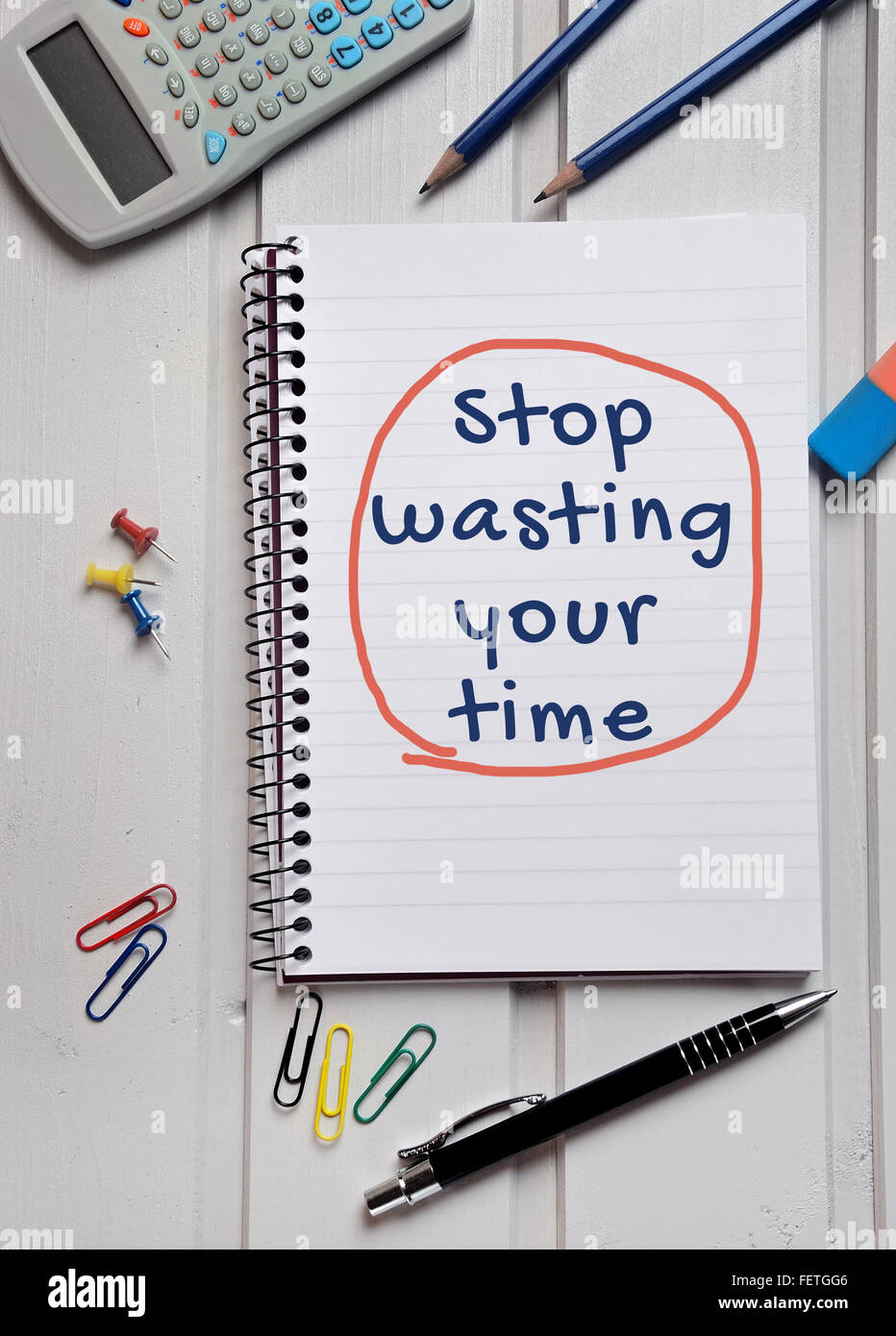 Stop wasting your time word writing on paper - Stock Image