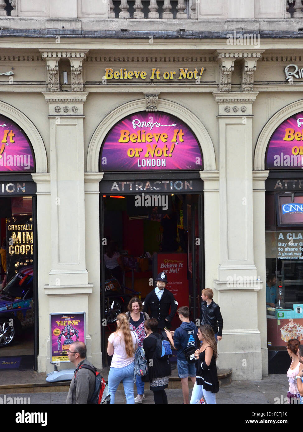 LONDON - AUGUST 6: Ripley's Believe Ir or Not! London, shown on August 6, 2015, includes over 700 artifacts. - Stock Image