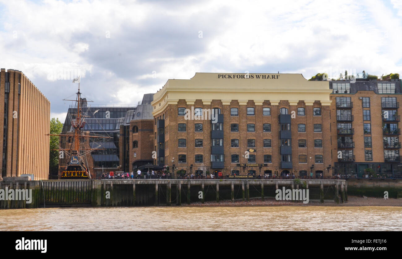 LONDON - AUGUST 6: Pickford's Wharf in London, which now houses an inn and was originally a spice warehouse, is Stock Photo