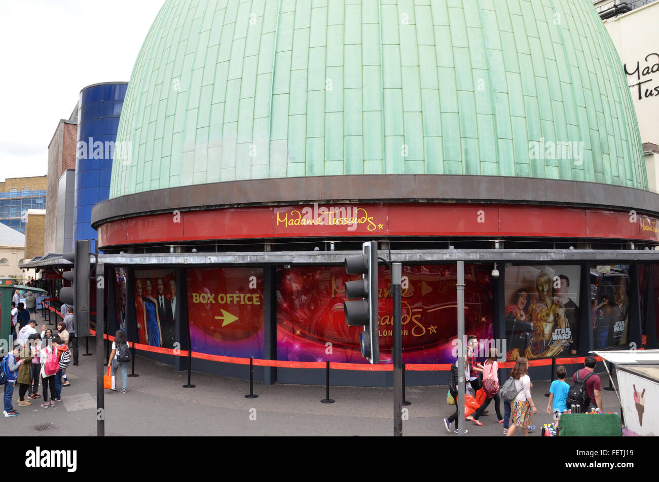 LONDON - AUGUST 6: Madame Tussauds, whose London location is shown on August 6, 2015, has 20 locations around the - Stock Image