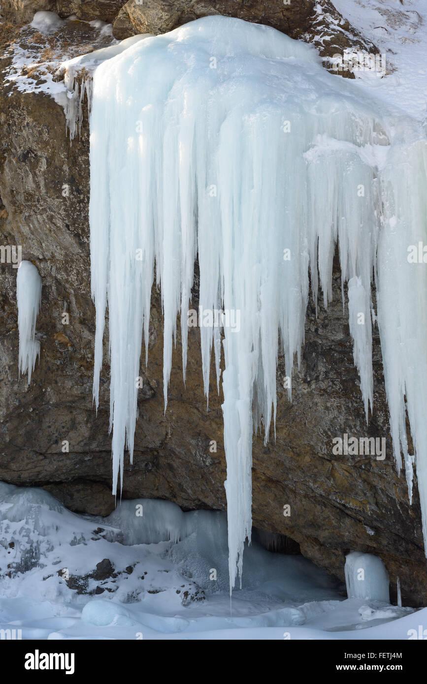 Ice fall, Sakhalin Island, Russia. - Stock Image