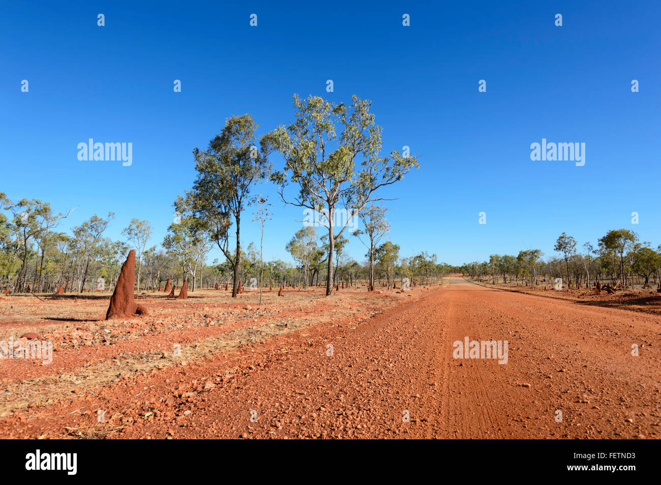 Remote Dirt Road, Gulf Savannah, Queensland, Australia - Stock Image