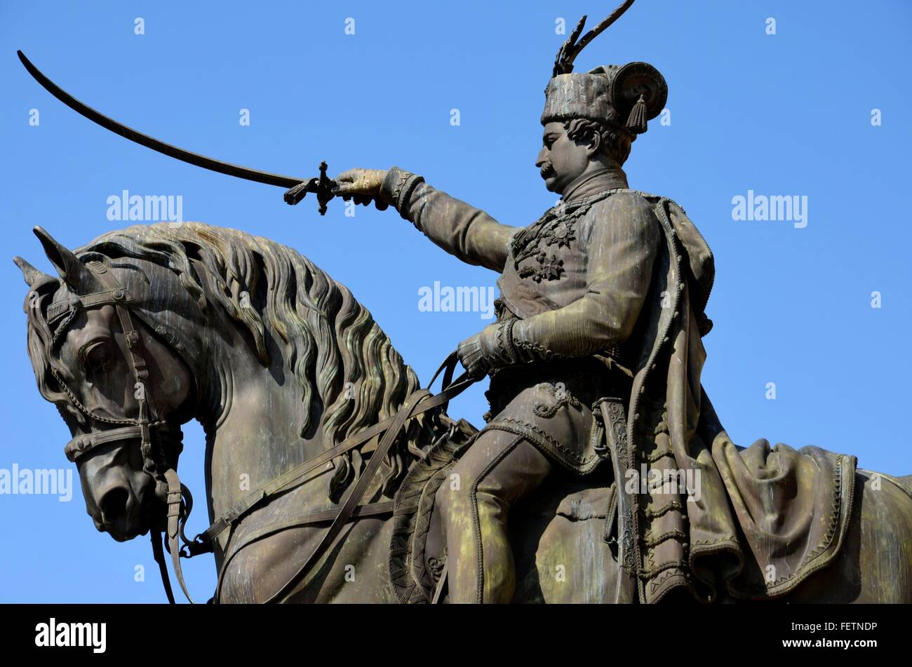 Statue of Croatian hero viceroy and military general Ban Josip Jelacic with sword on horse in Zagreb main square - Stock Image