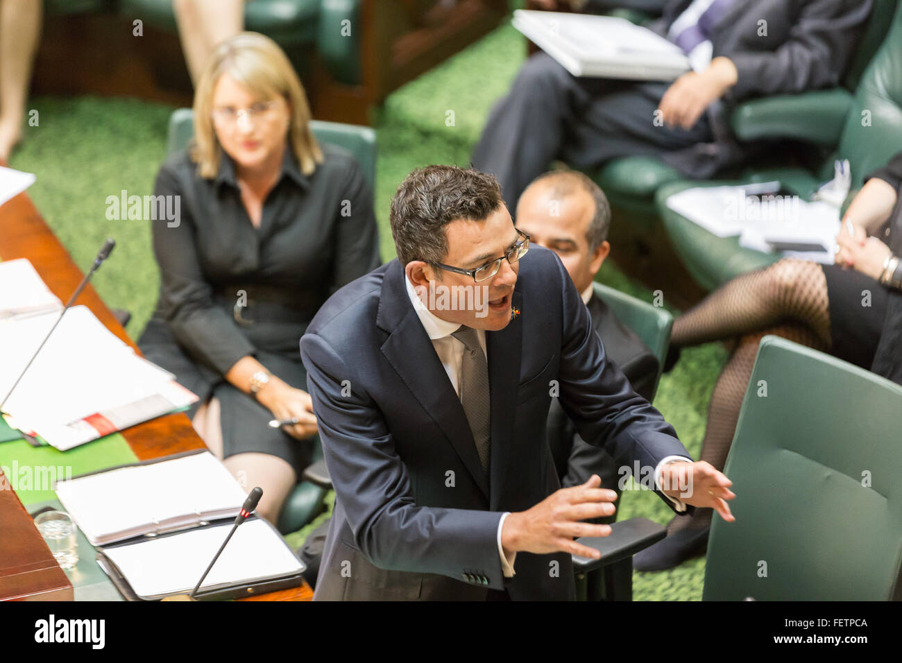Melbourne, Australia. 9th February, 2016. State Premier, Daniel Andrews fires back in question time, as parliament - Stock Image