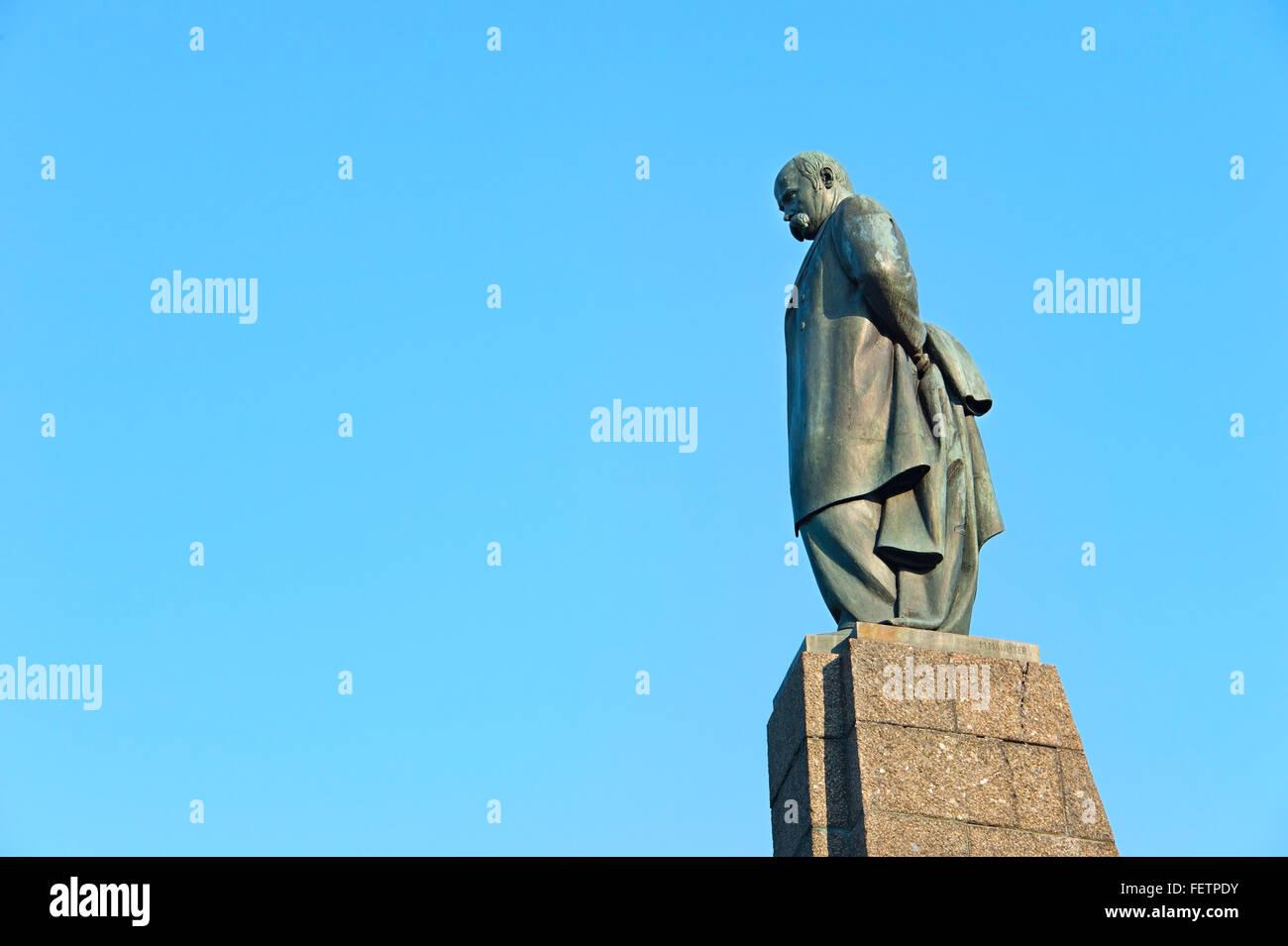 Taras Shevchenko monument in Kaniv, Ukraine. Taras Shevchenko was a Ukrainian poet, writer, artist, public and political - Stock Image