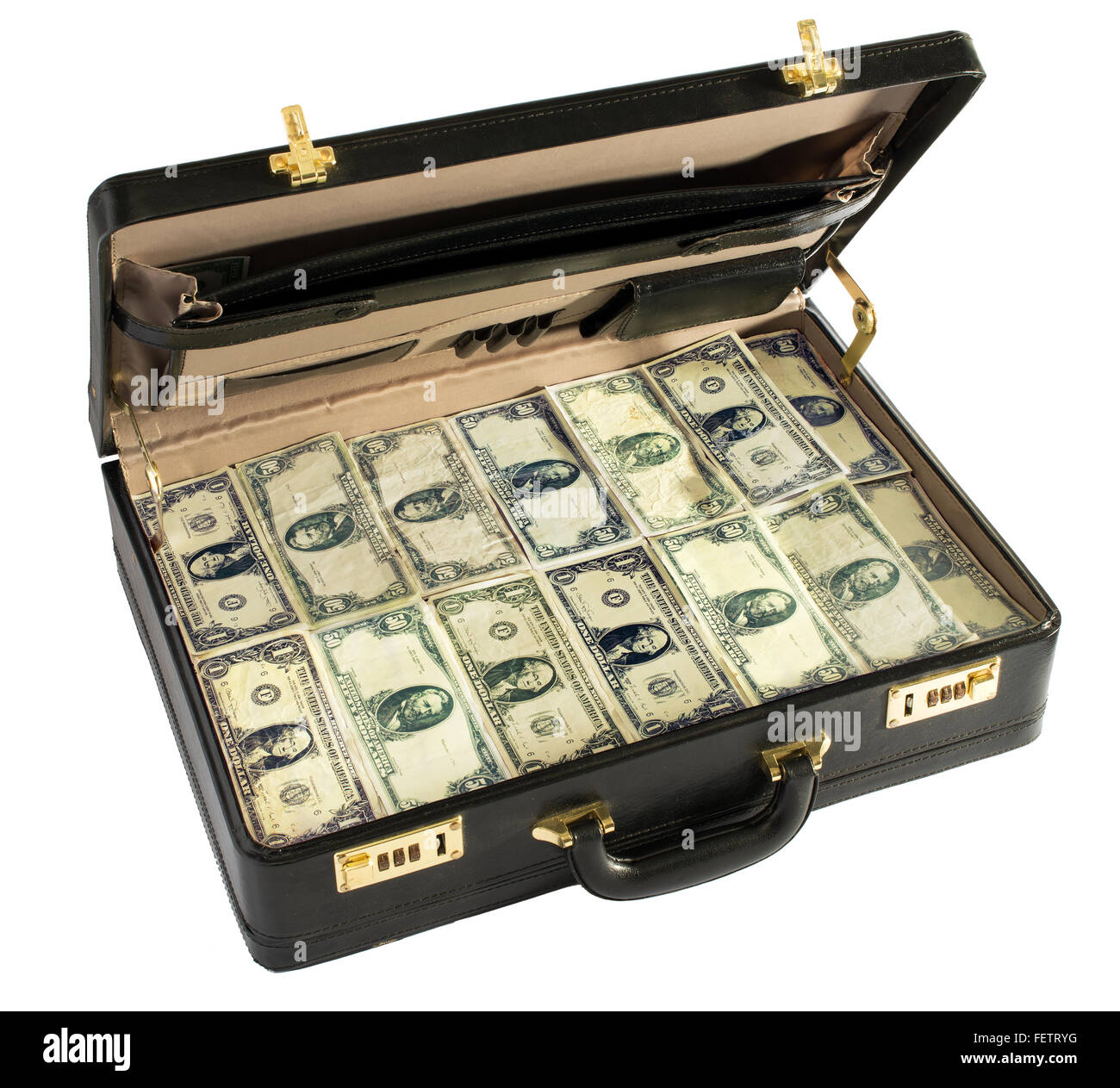 Open black leather briefcase packed full of dollar bills isolated on white in a conceptual image - Stock Image