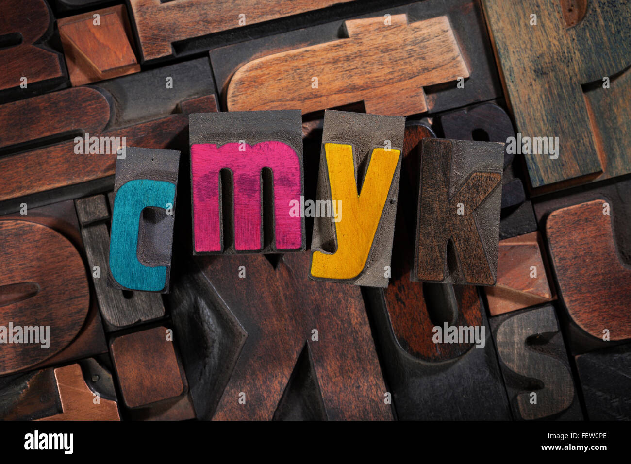 CMYK printing concept - vintage letterpress printing blocks with process colors on random letters background, top - Stock Image
