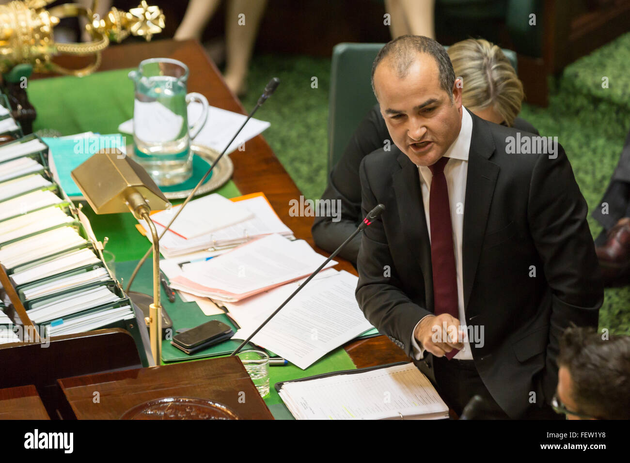 Melbourne, Australia. 9th February, 2016. The Deputy Premier,  Hon. James Merlino, answers questions over the long - Stock Image