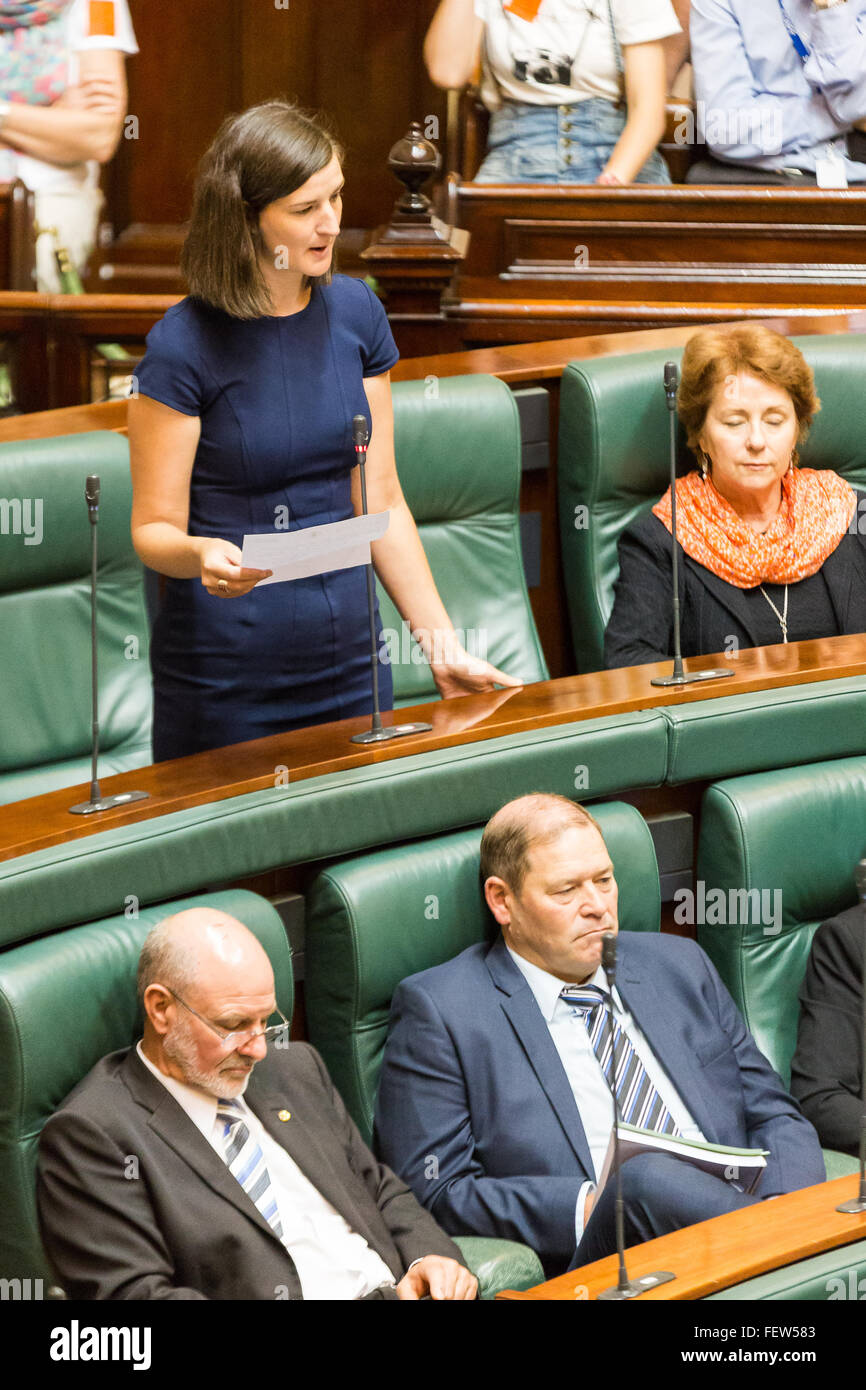 Melbourne, Australia. 9th February, 2016. Victorian Greens MP Ellen Sandell, stands to talk in Question Time 2016. - Stock Image