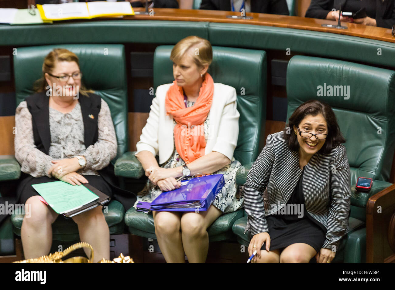 Melbourne, Australia. 9th February, 2016. The Minister for Industry, Energy & Resources reacts to a question - Stock Image