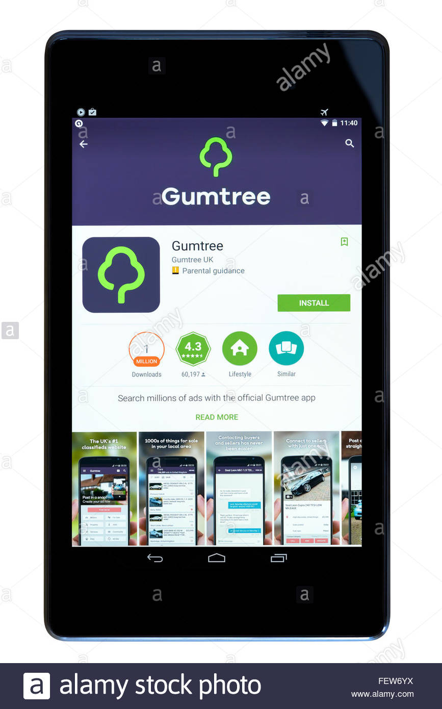 Classified ads website Gumtree, app on an android tablet PC, Dorset, England, UK - Stock Image