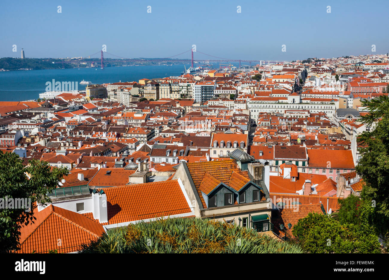 Portugal, Lisbon, view from Castelo de Sao Jorge of Baixa Pombaline, the Pombaline Downtown of Lisbon - Stock Image
