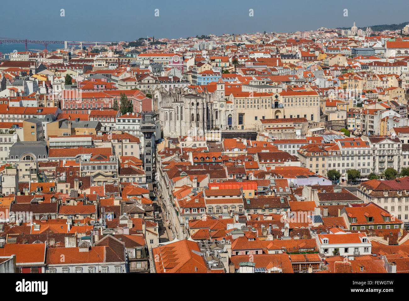 Portugal, Lisbon, view of the Baixa Pombaline, the Pombaline Downtown of Lisbon with Santa Justa Lift and Carmo - Stock Image