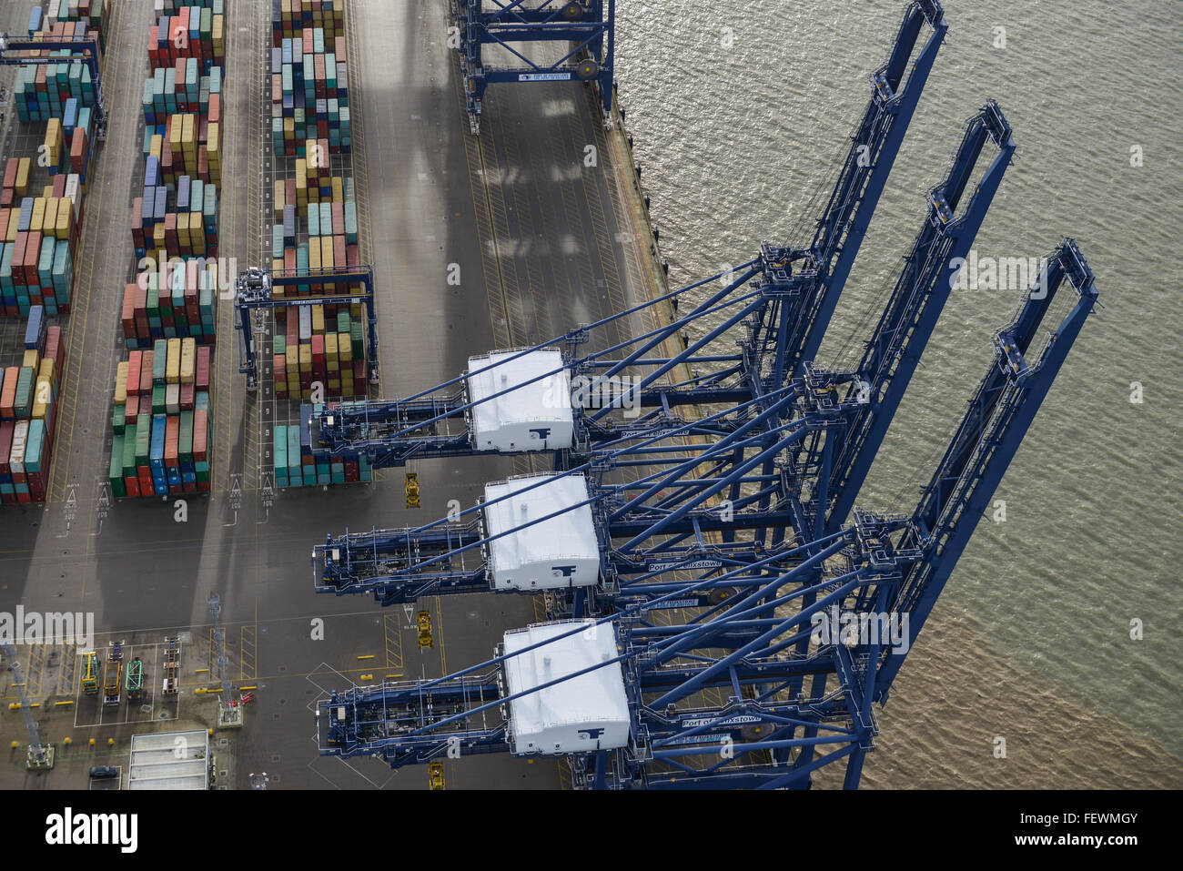 A dramatic aerial view of the dockside cranes at Felixstowe Port - Stock Image