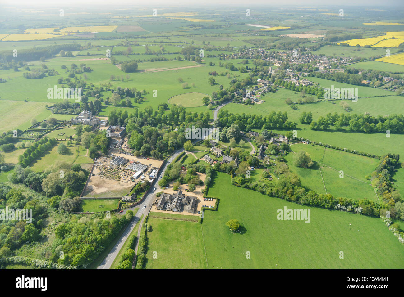 General views of the English countryside near to the Cambridgeshire village of Elton - Stock Image