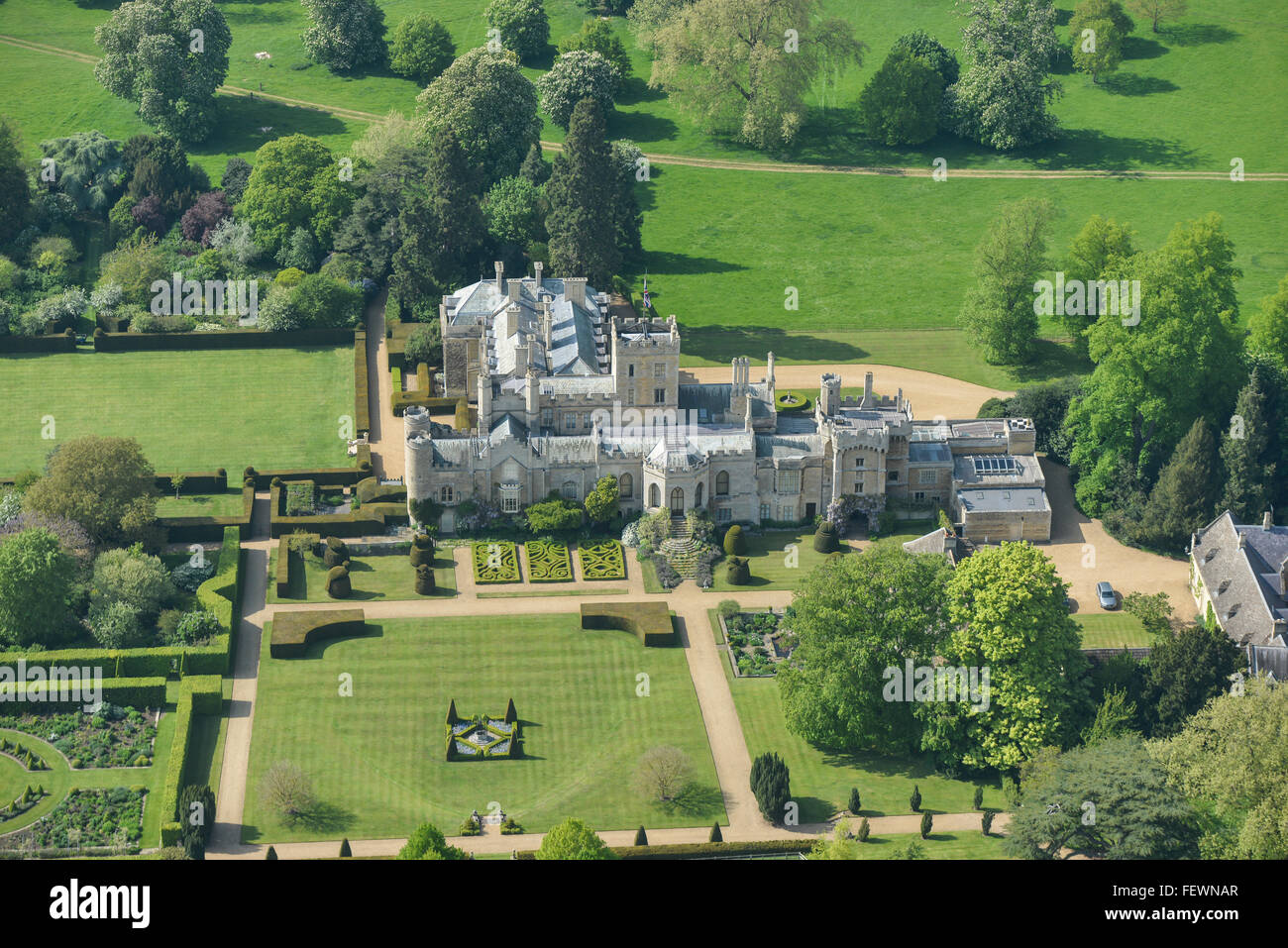 An aerial view of a typical English stately home in Northamptonshire - Stock Image