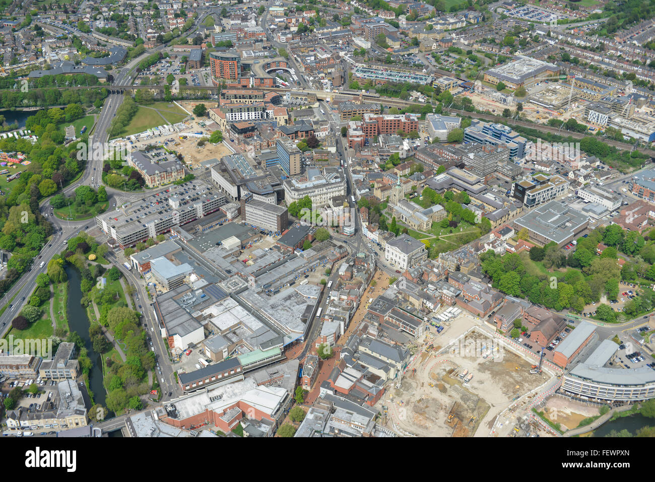 An aerial view of the city centre of Chelmsford, Essex - Stock Image