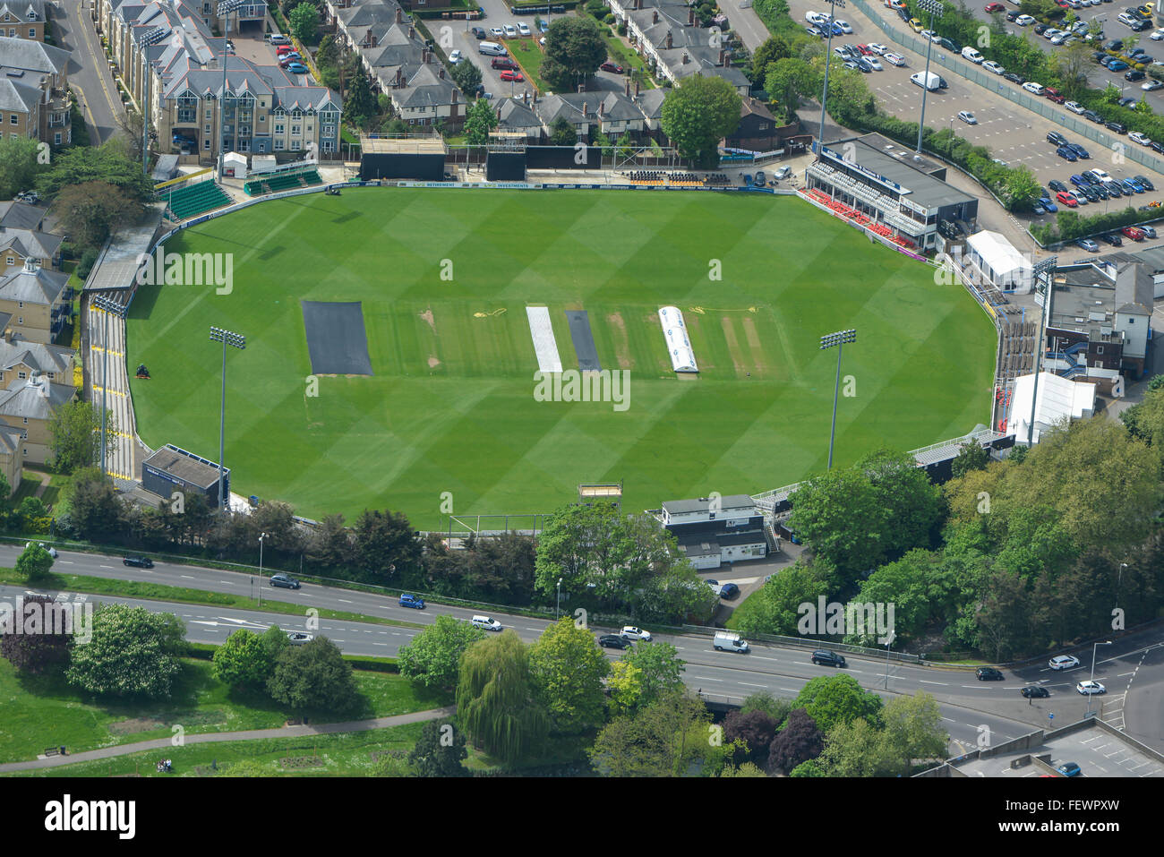 An aerial view of the Essex County Cricket Ground in Chelmsford - Stock Image