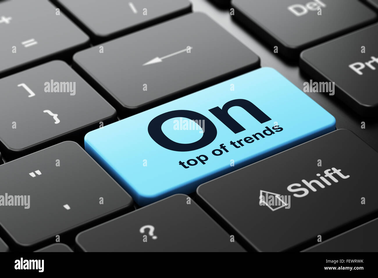 business concept on top of trends on computer keyboard background
