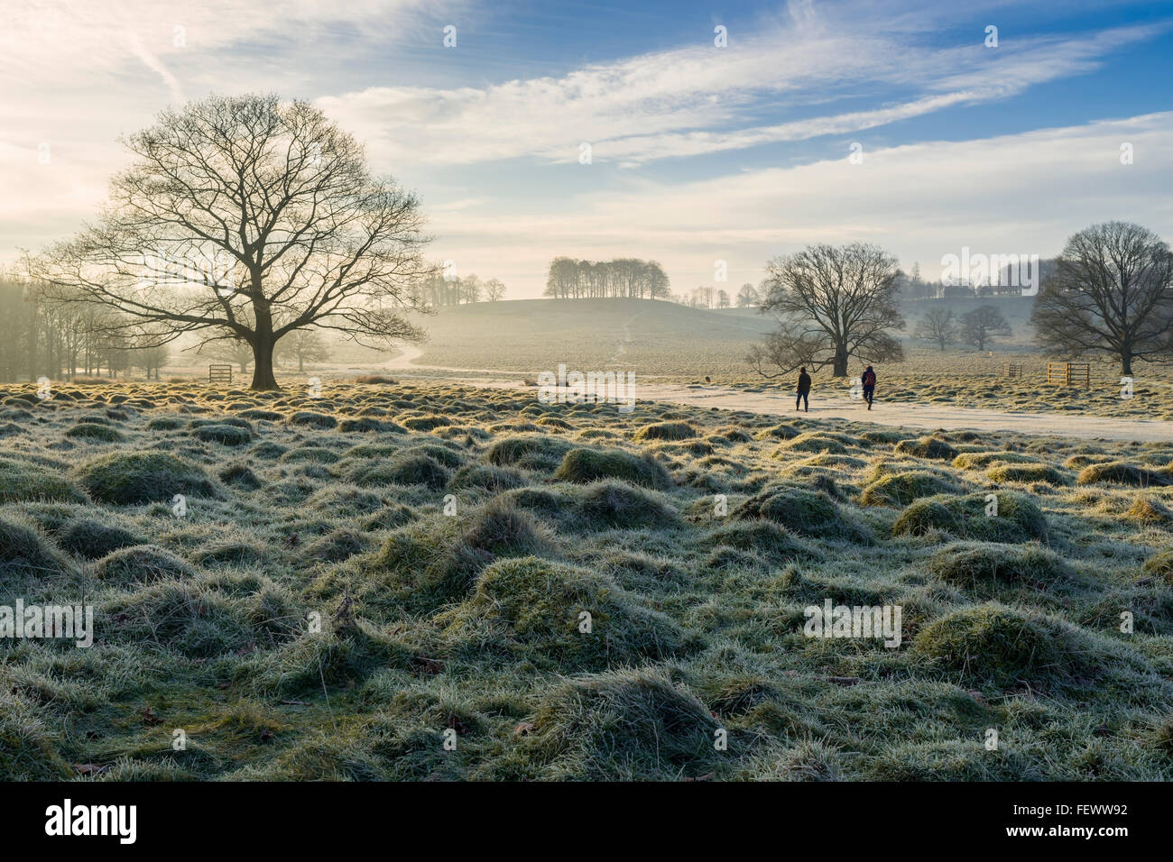 Couple walk on the path at Petworth, West Sussex - Stock Image