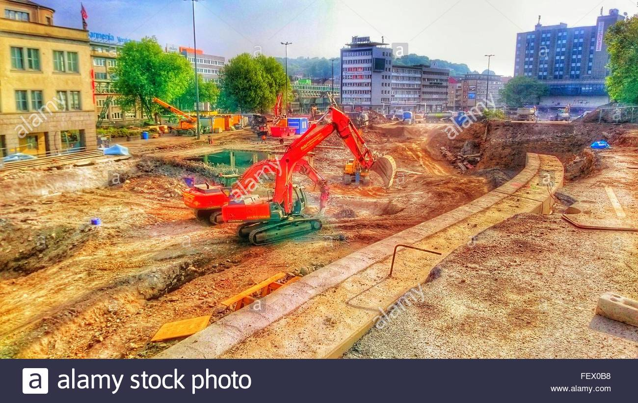 View Of Earth Movers At Construction Site - Stock Image