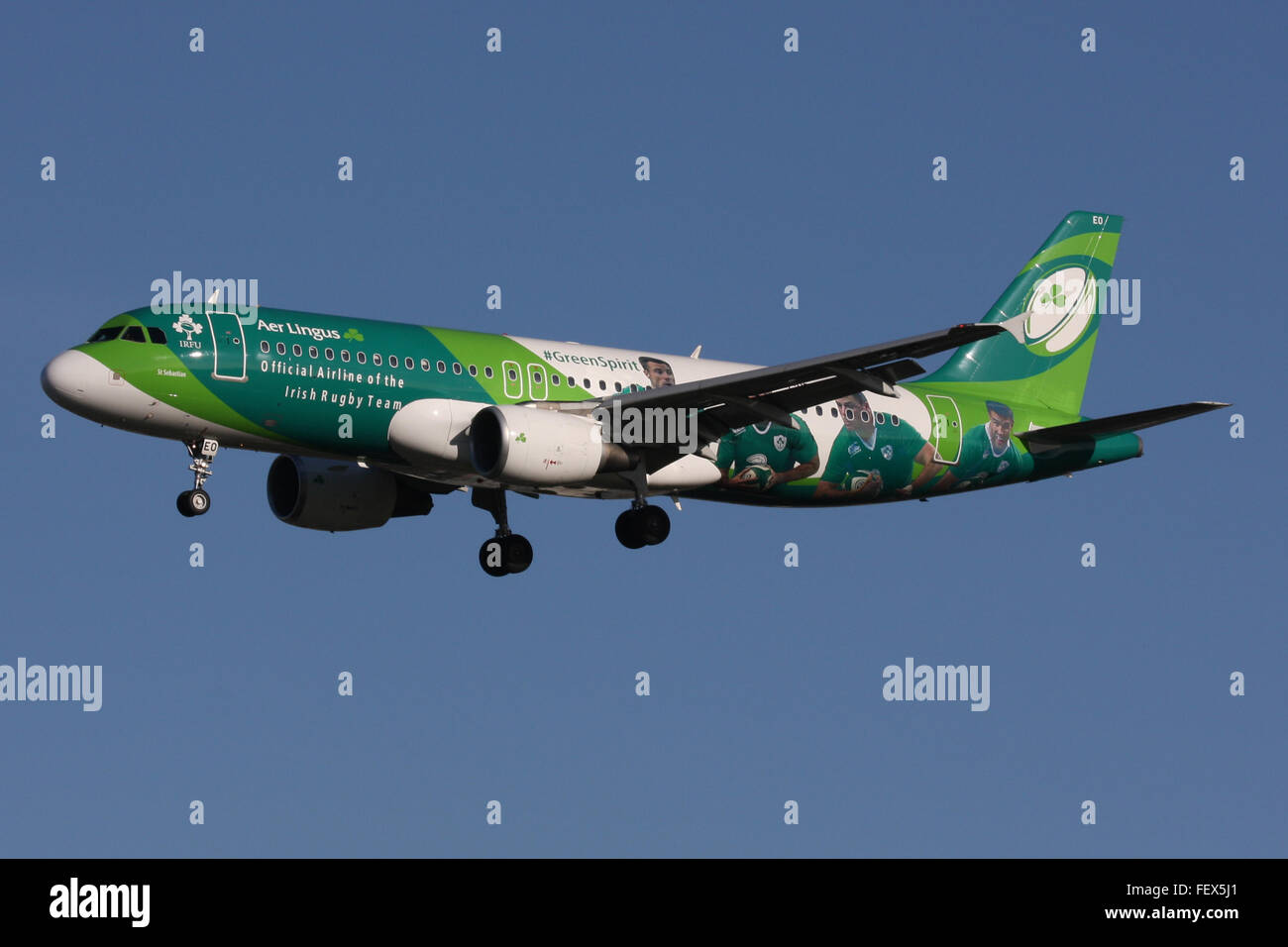 AER LINGUS A320 GREEN SPIRIT RUGBY TEAM EIRE IRELAND - Stock Image