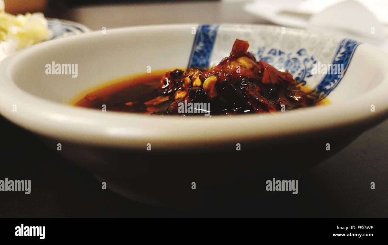 Close-Up Of Bowl Of Savory Sauce Stock Photo