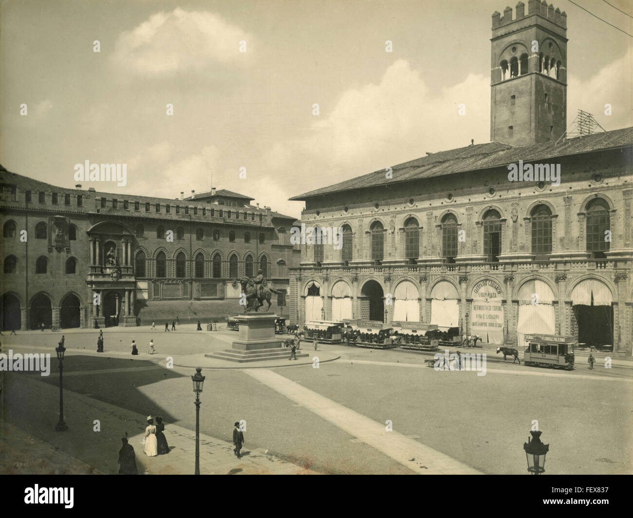 Piazza Vittorio Emanuele, Bologna, Italy - Stock Image